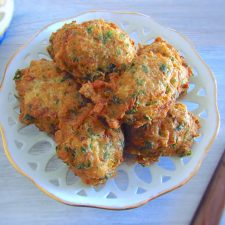 Tuna fritters on a plate