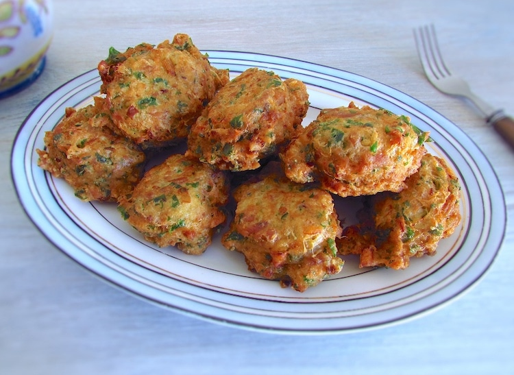 Tuna fritters on a platter