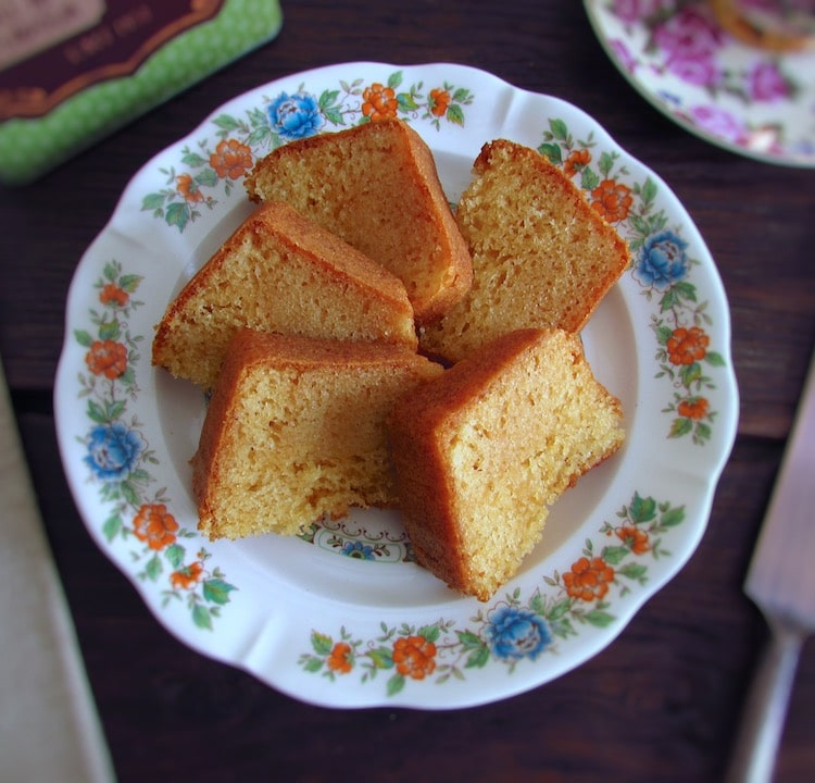 Slices of honey and rum cake on a plate