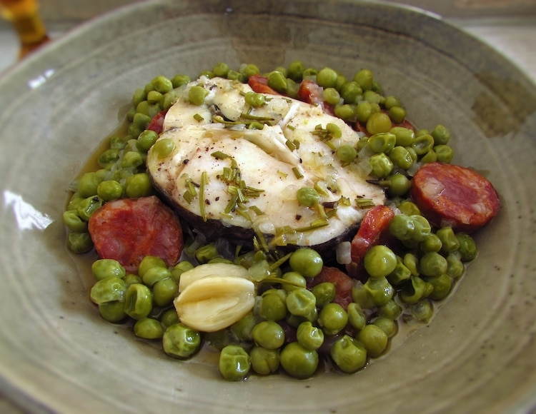 Peas with hake on a dish