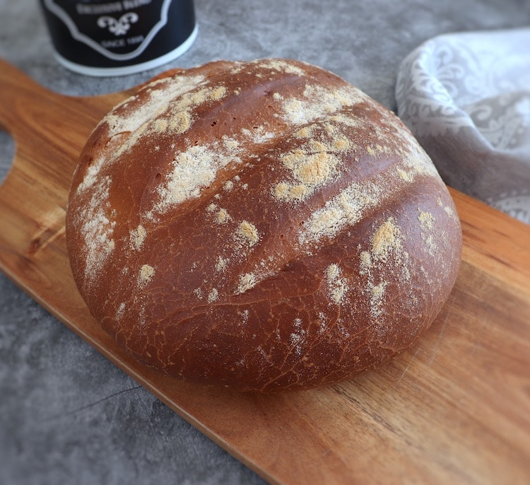 Simple bread on a wooden table