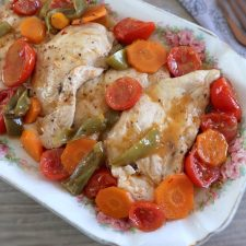 Stewed turkey steaks on a platter