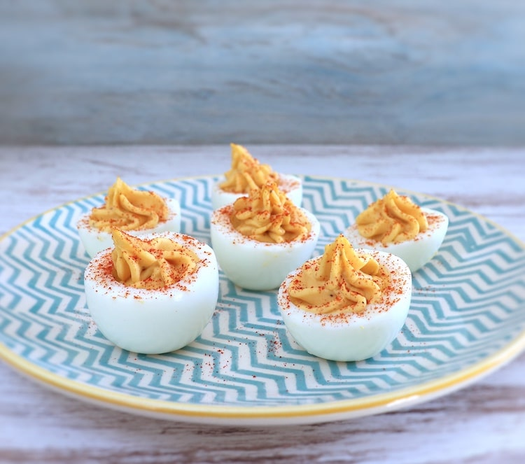 Stuffed eggs on a plate