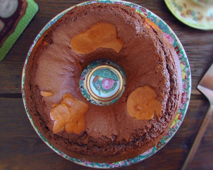 Chocolate orange marble cake on a plate