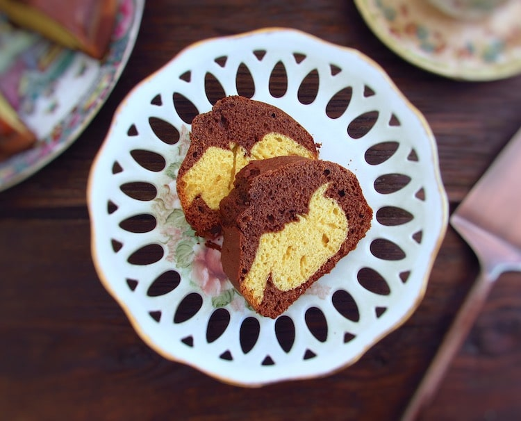 Slices of chocolate orange marble cake on a plate
