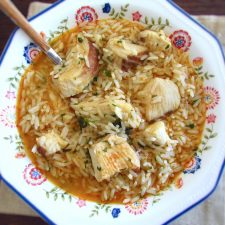Dogfish rice on a dish bowl