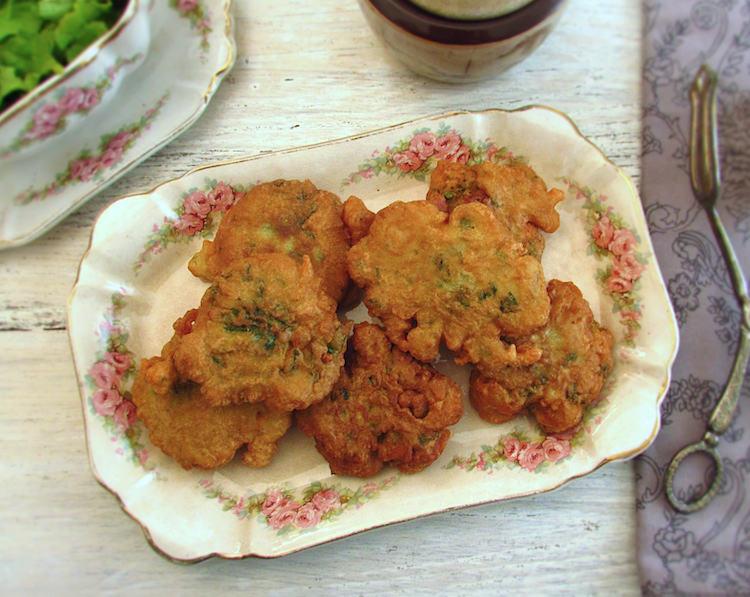 "Shrimp ""pataniscas"" on a platter"