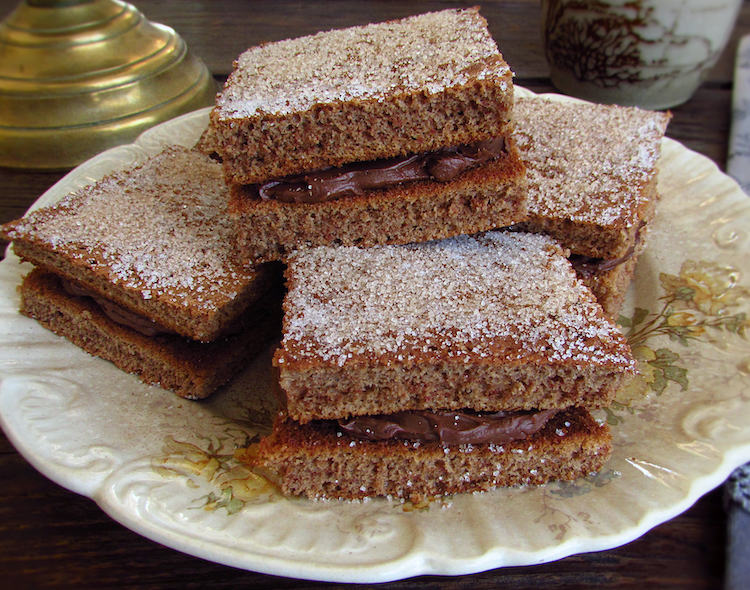 Stuffed chocolate squares on a plate