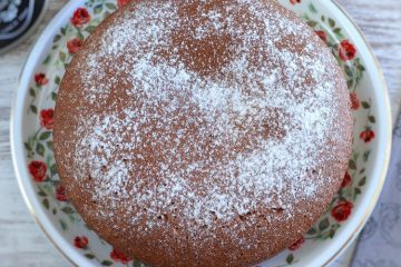 Egg white cake with cinnamon and honey on a plate