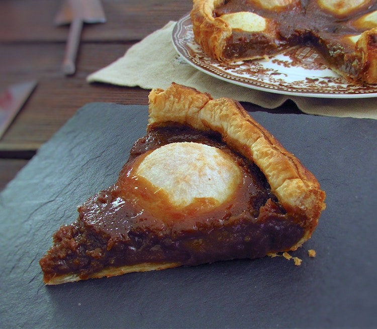 Slice of sugar and pear pie