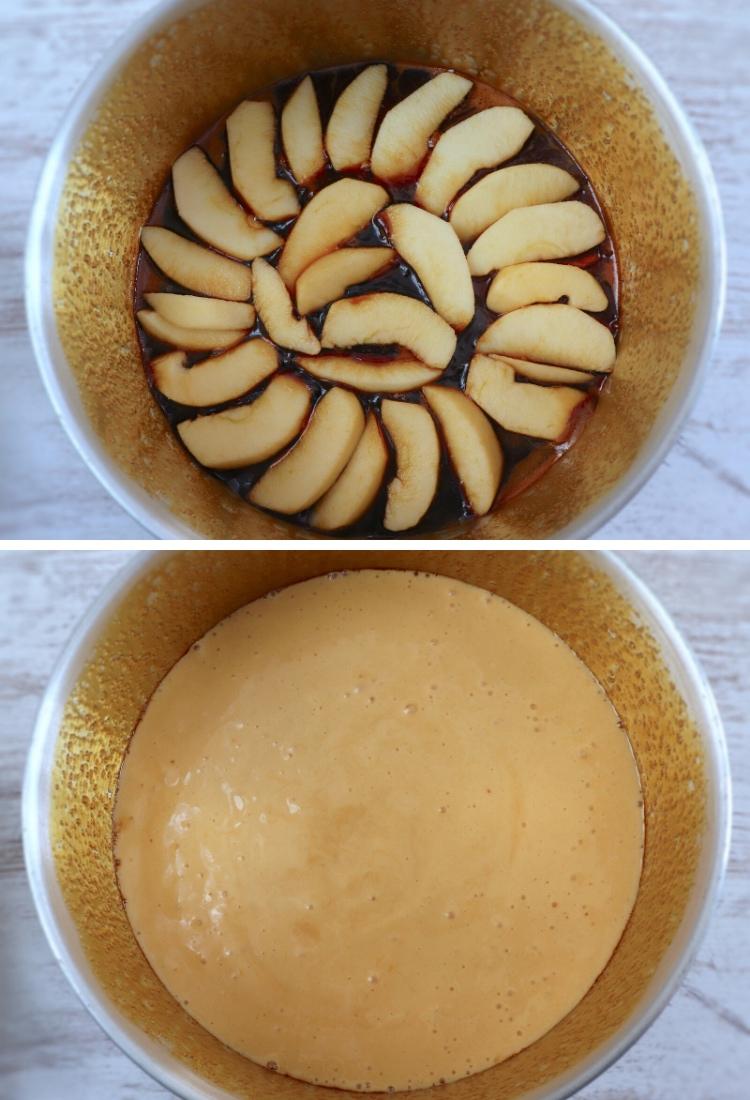 Bolo de maçã caramelizado passos