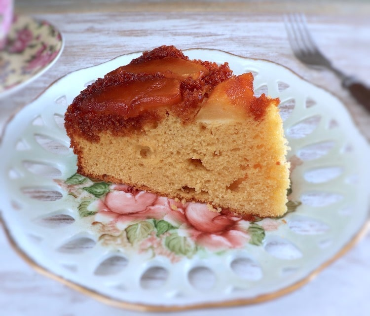 Caramelized apple cake slice on a plate