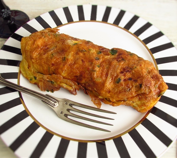 Chicken omelet on a plate