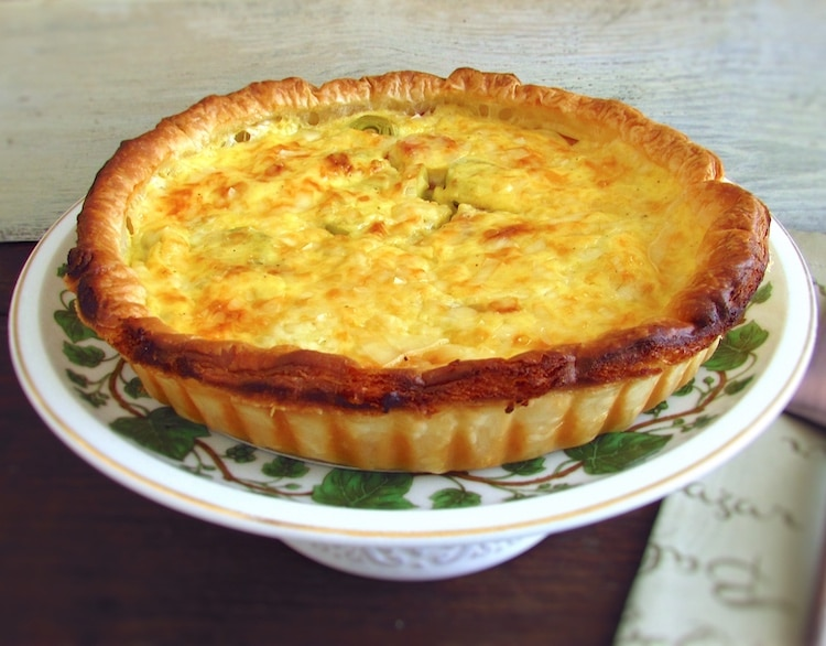 Bacon and leek pie on a plate