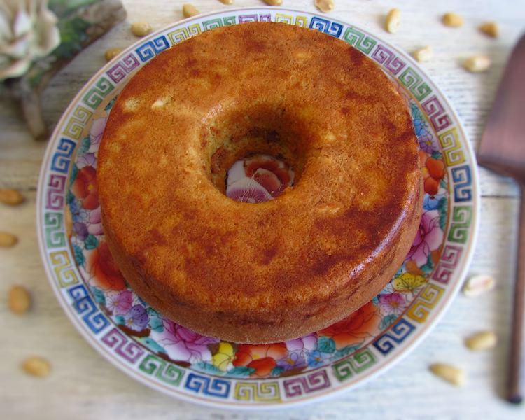 Apple peanut cake on a plate