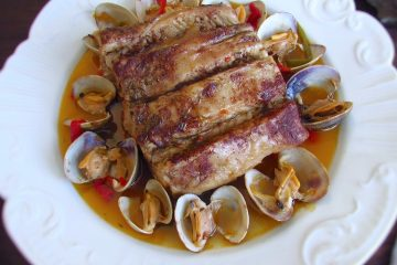 Pork loin with clams on a plate