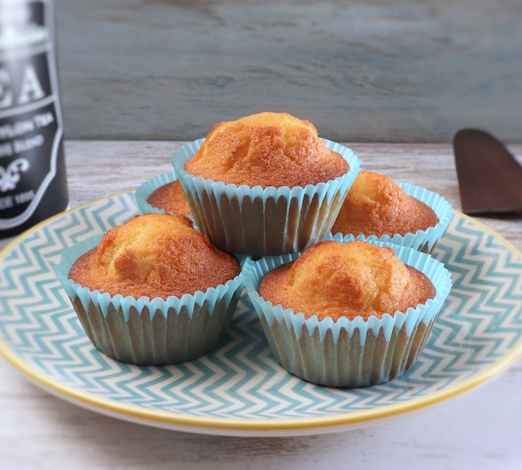 Butter lemon muffins on a plate