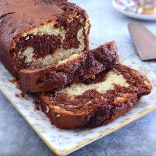 Chocolate lemon marble cake on a rectangular platter