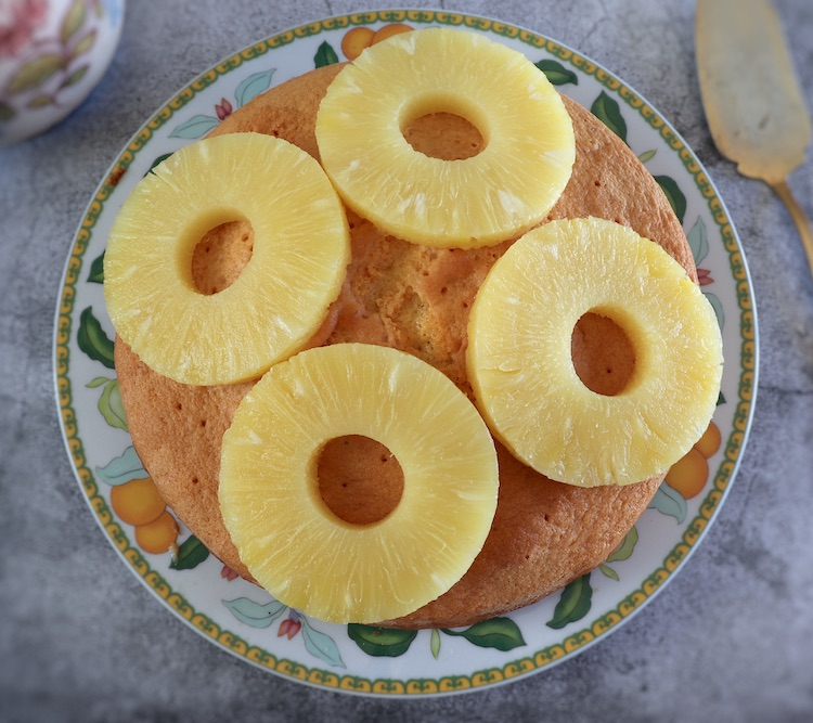 Soaked pineapple cake on a plate