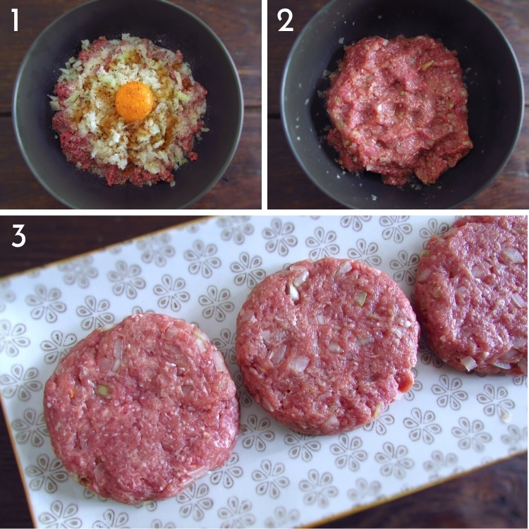 Burgers with onions steps