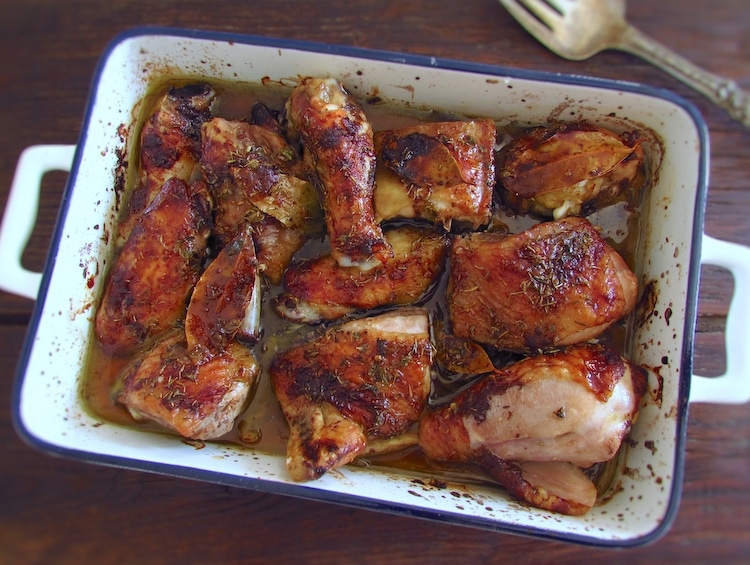 Bittersweet chicken in the oven on a baking dish