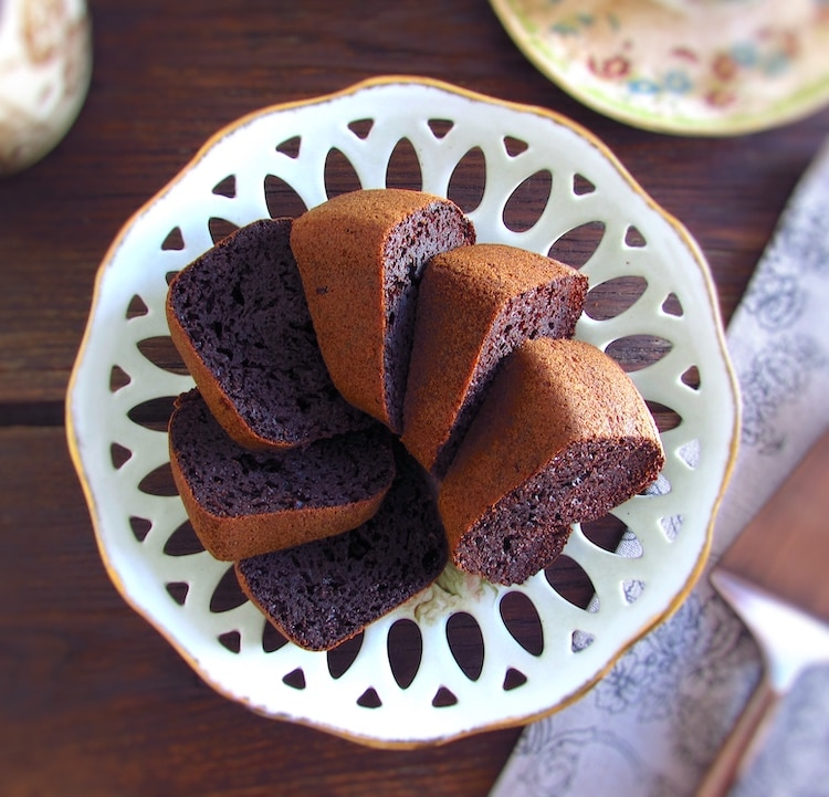 Slices of chocolate and caramel cake on a dish