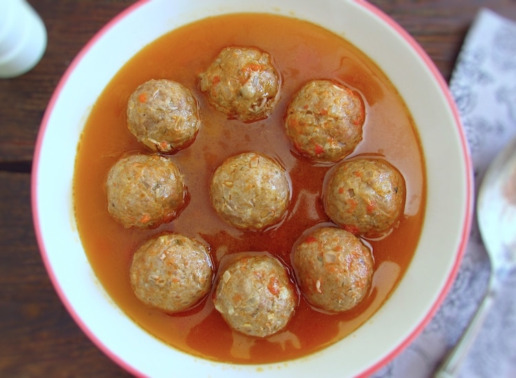 Meatballs with beer sauce on a dish bowl