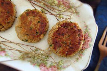 Tuna burgers on a platter
