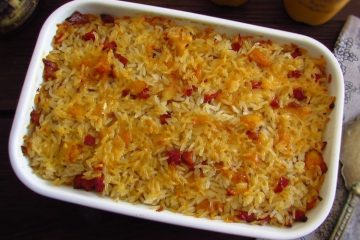Cod with chouriço and rice in the oven on a baking dish
