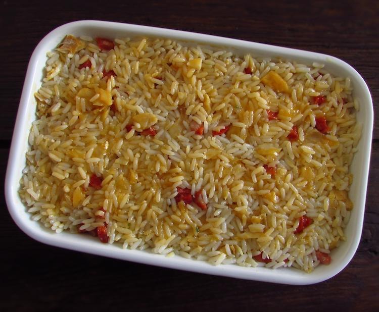 Cod, chouriço and rice on a baking dish