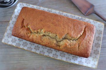Banana cake on a rectangular dish
