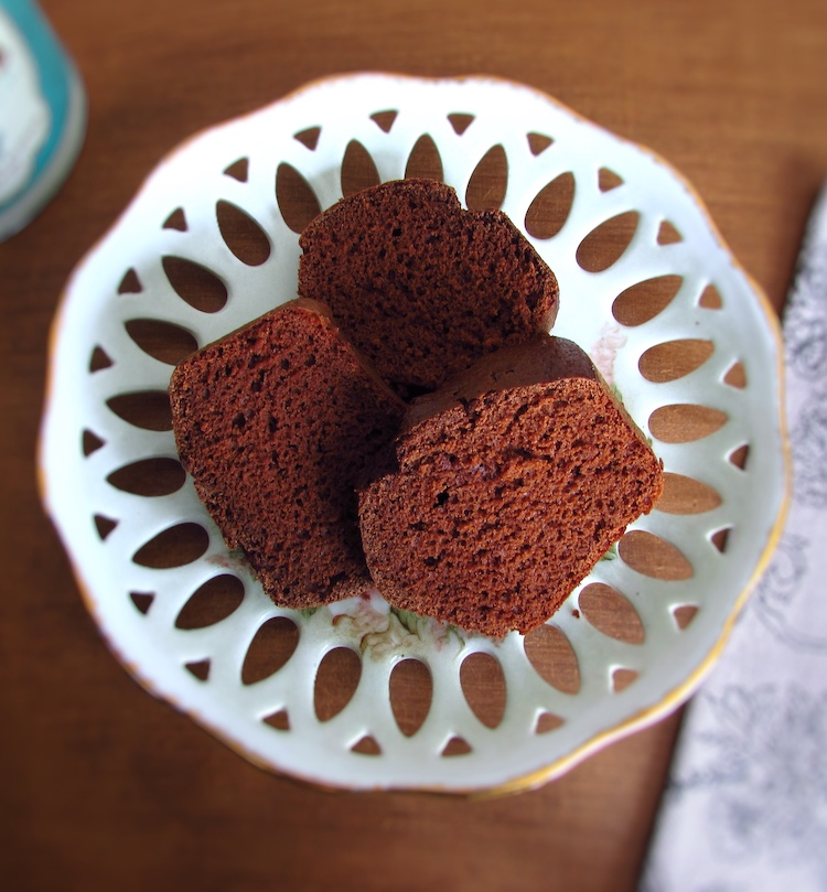 Cocoa cake slices on a plate
