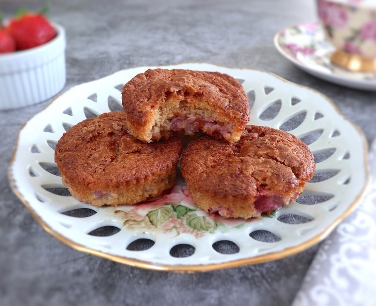 Strawberry muffins on a plate