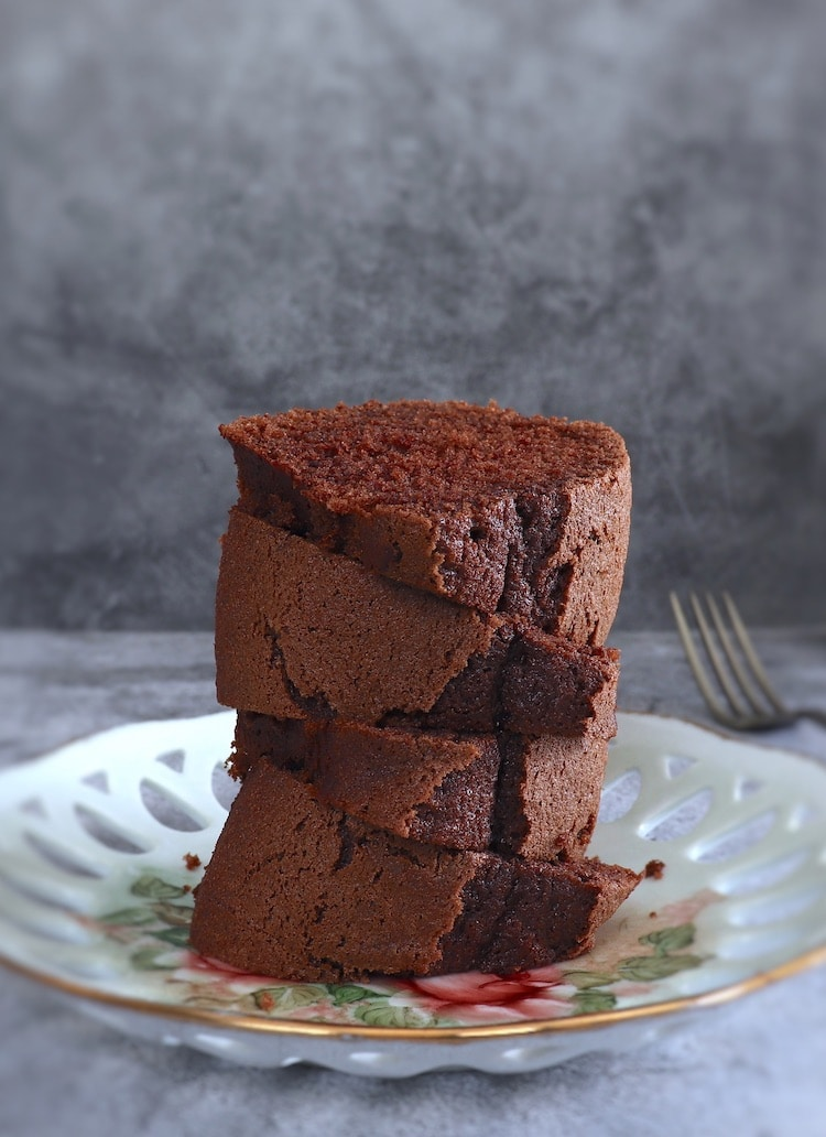 Coffee cocoa cake slices on a plate