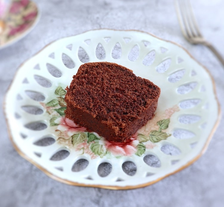 Coffee cocoa cake slice on a plate