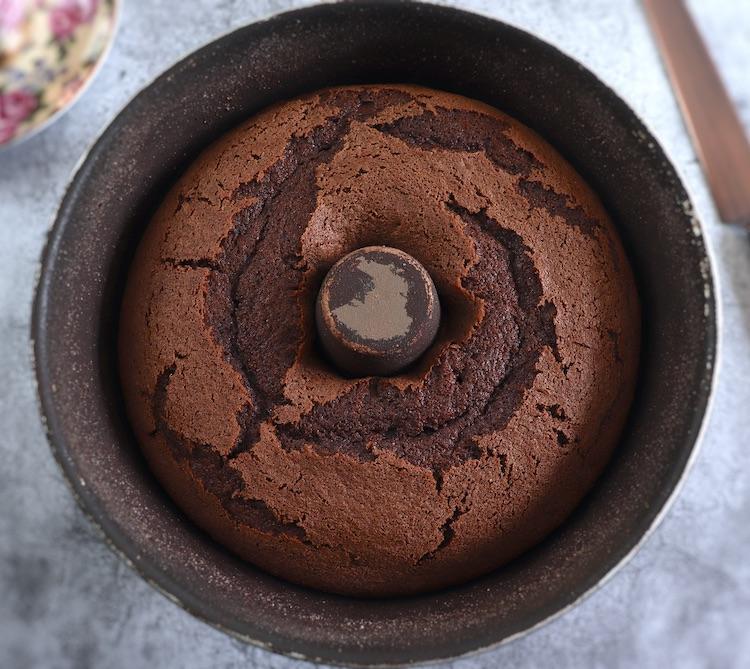 Coffee cocoa cake on a bundt cake pan