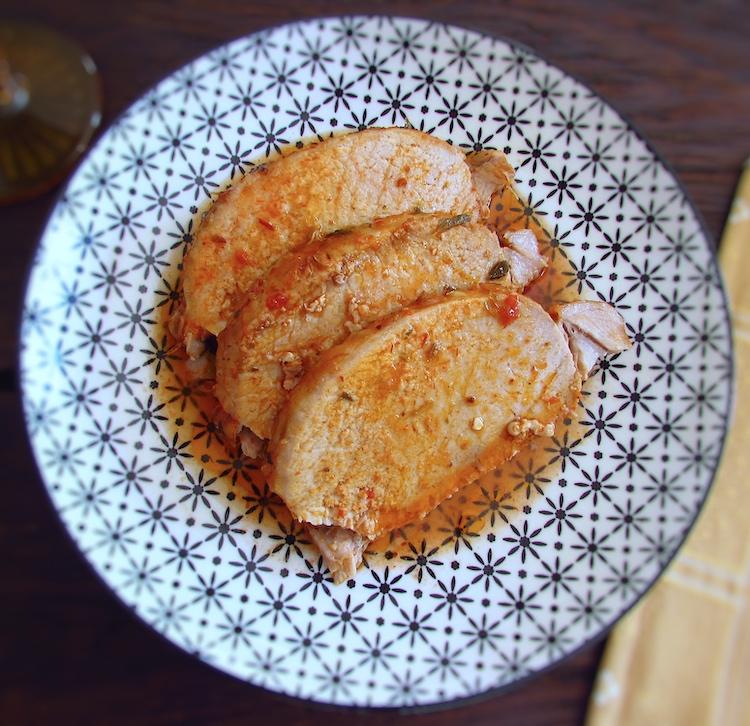 Pork loin slices on a plate