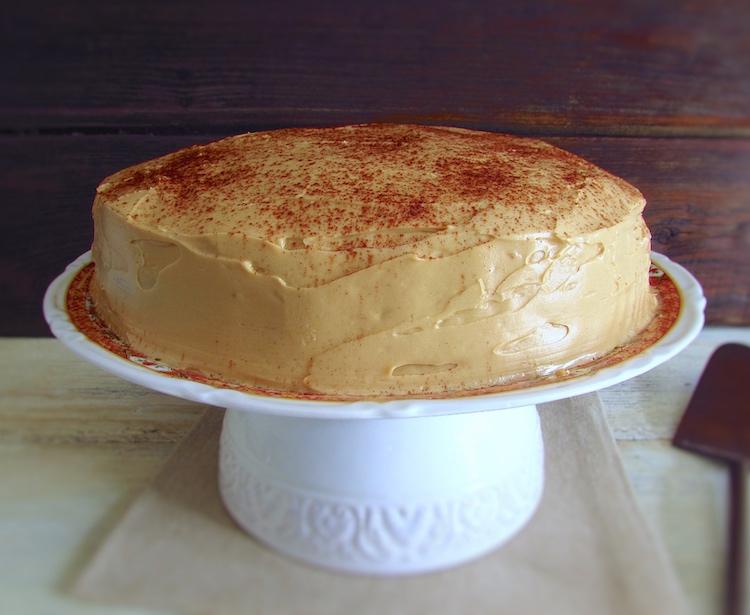 Chocolate cake with coffee cream on a plate