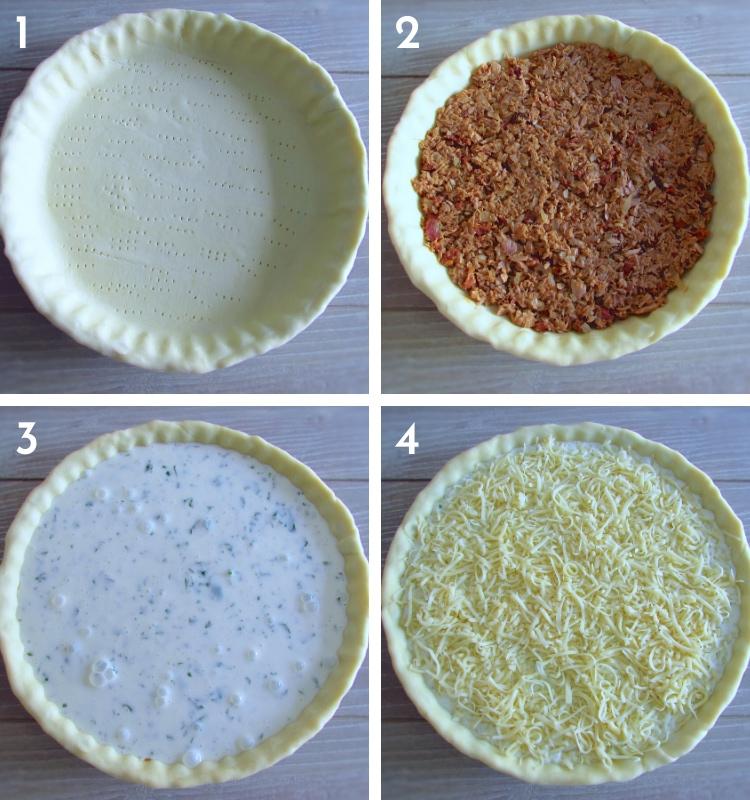 Tuna and chouriço pie steps