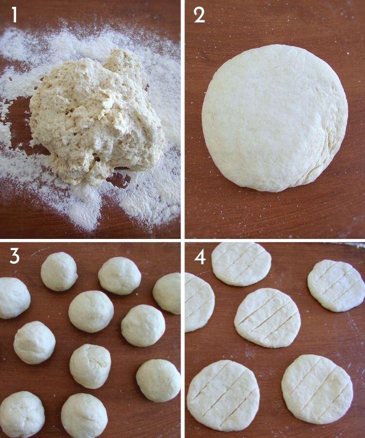 Pães grelhados com molho de azeite passos