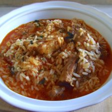Pork ribs stew with rice on a tureen