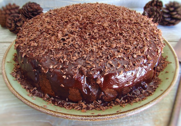 Chocolate and butter cake on a plate