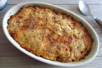 Cod au gratin on a baking dish