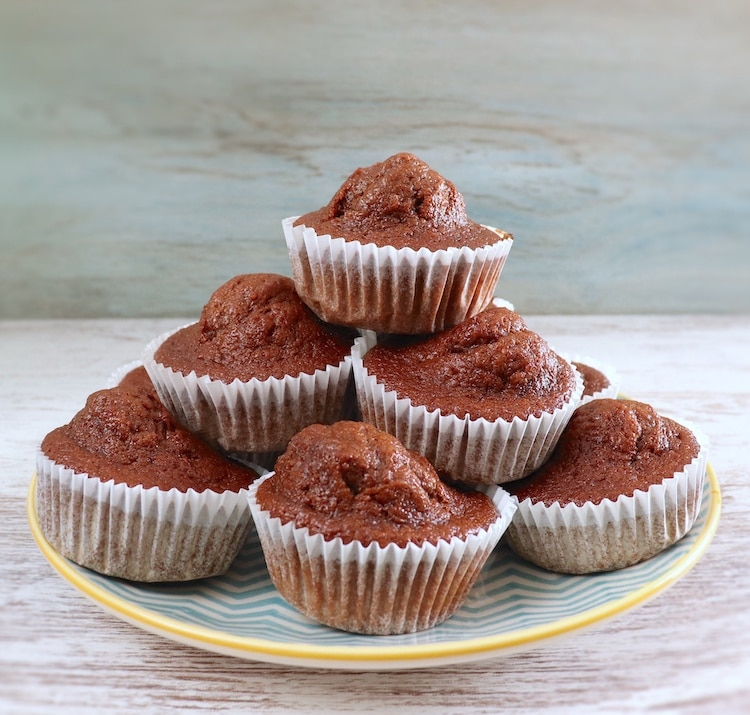 Banana and chocolate muffins on a plate
