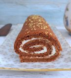 Roll cake filled with whipped cream