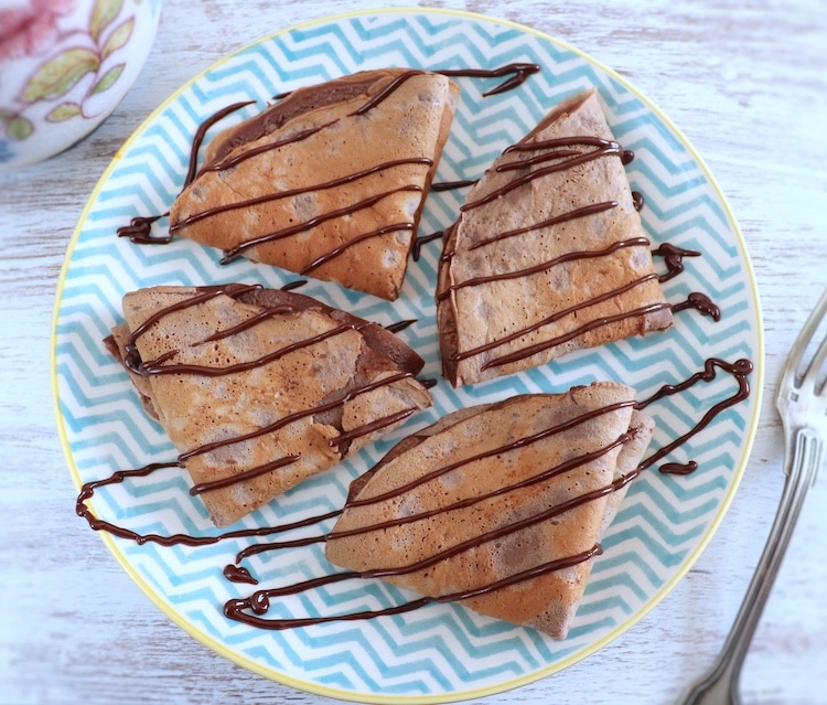 Chocolate crepes on a plate