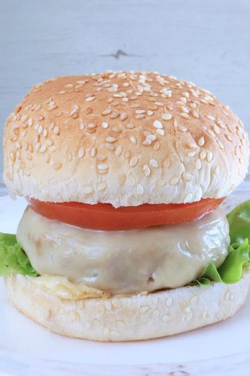 Homemade cheeseburger on a plate