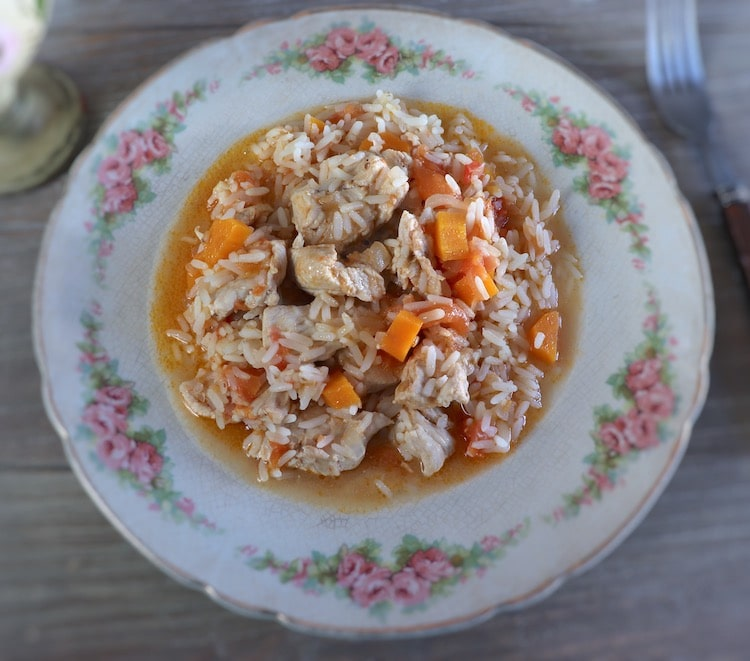 Chicken and carrot rice on a plate