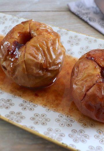 Baked apples on a platter