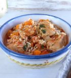 Pork stew with rice and carrot